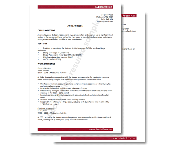 Accounting resume template | Robert Half