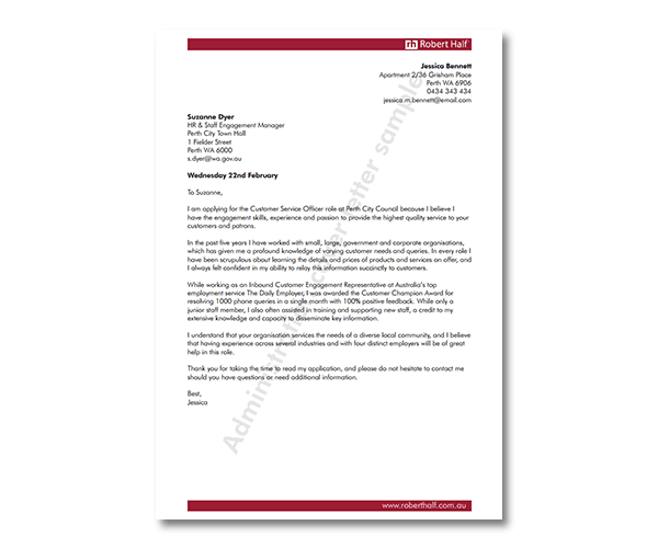 administration cover letter template robert half