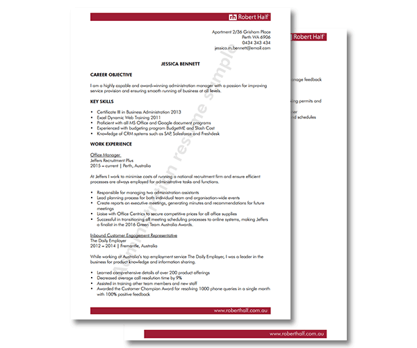 administration resume template robert half