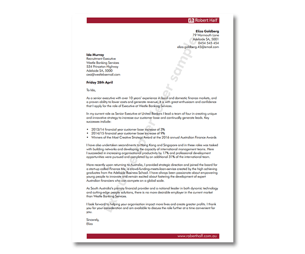 Executive Cover Letter Template Robert Half